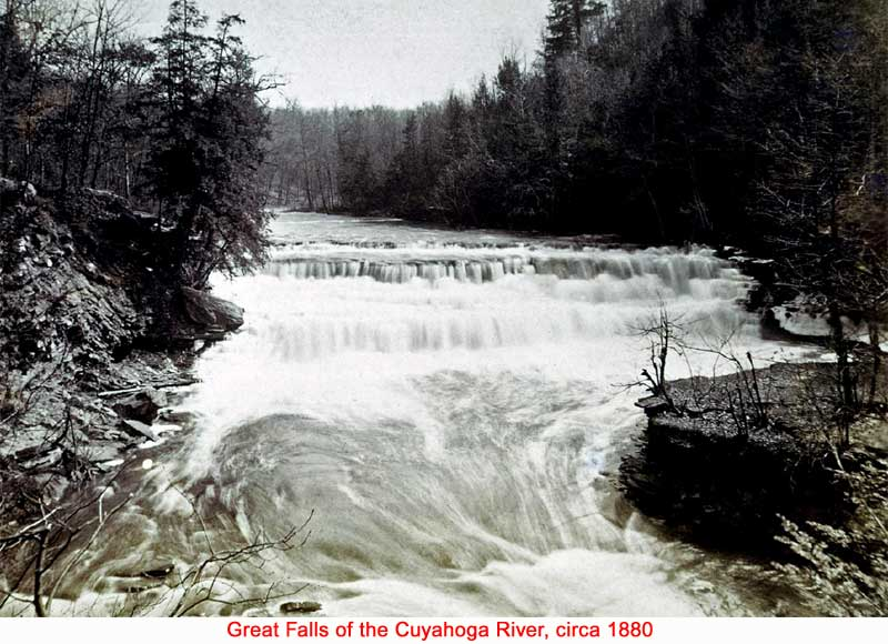 The falls on the Cuyahoga River circa 1880.