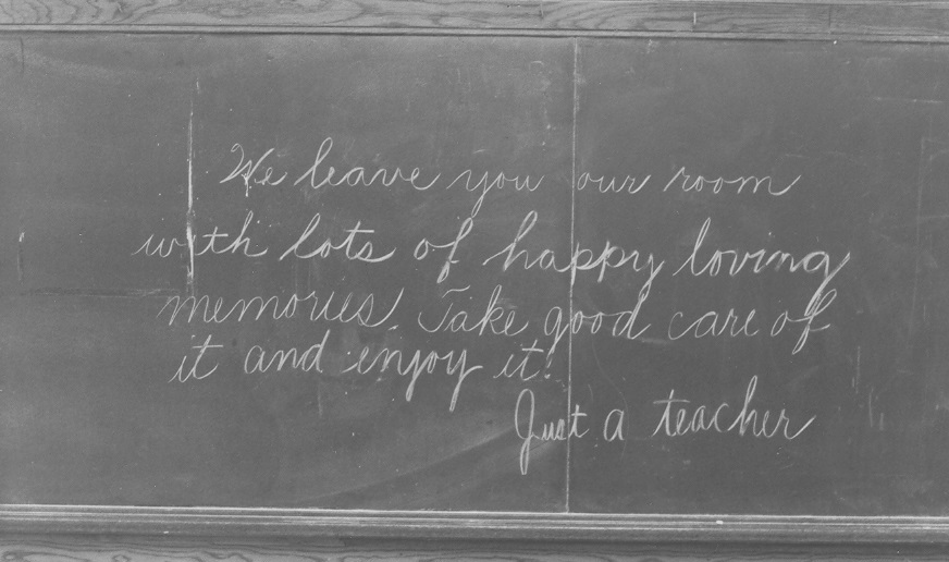 Blackboard from Quirk Cultural Center, formerly an elementary school.