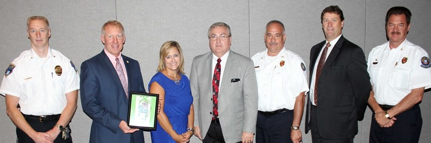 Police Chief Jack Davis; Mayor Don Walters; Kathy Romito, Community Outreach Manager, Western Reserve Hospital; Woodridge Schools Superindendent Walter Davis; Fire Chief Paul Moledor; Cuyahoga Falls Schools Superintendent Dr. Todd Nichols; and Assistant Fire Chief Fred Jackson